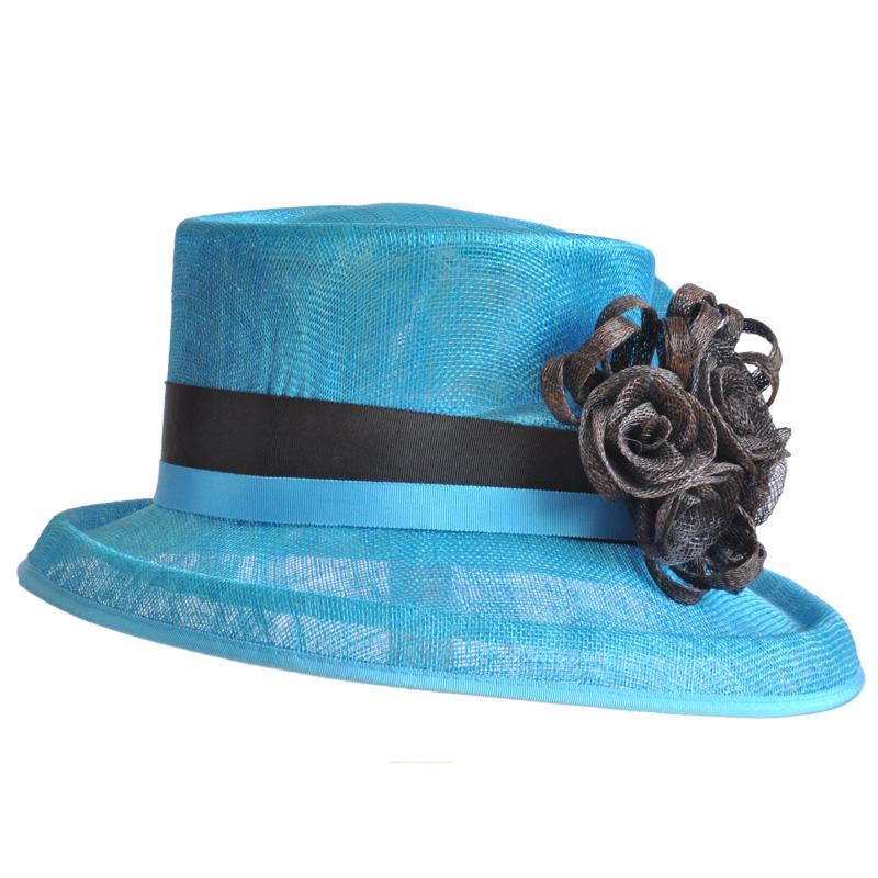 Aqua Sinamay Hat With Black Flowers