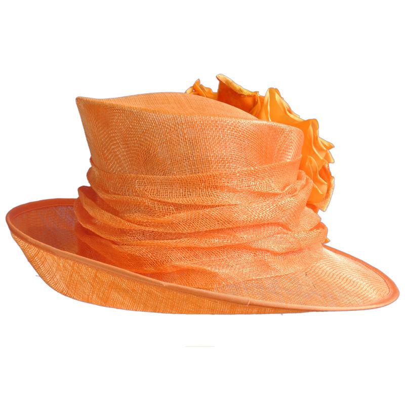 Orange Sinamay Swoop Brim Hat
