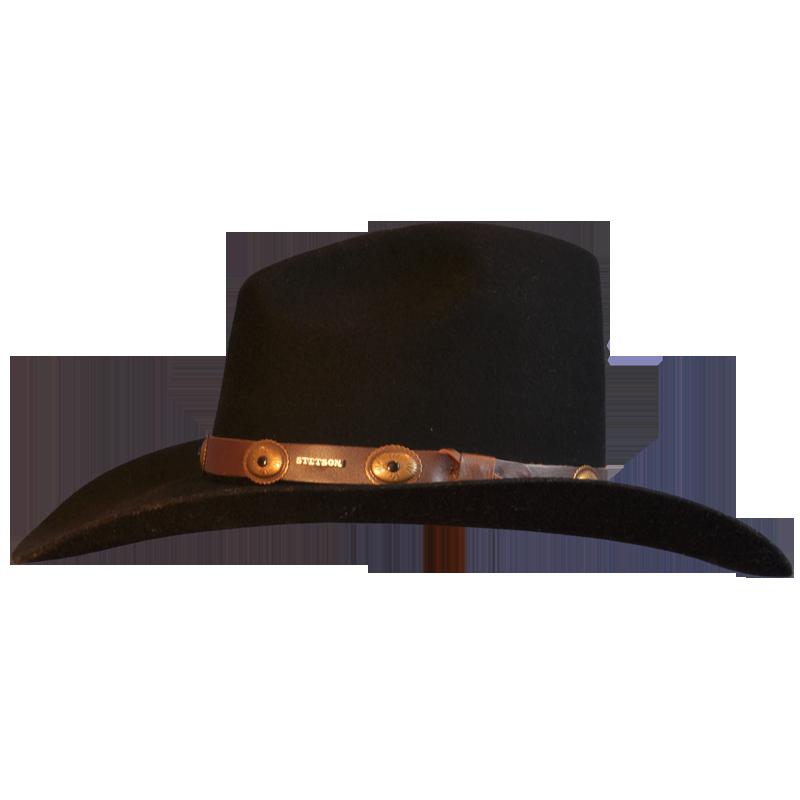 black wool felt cowboy hat with leather trim races hats