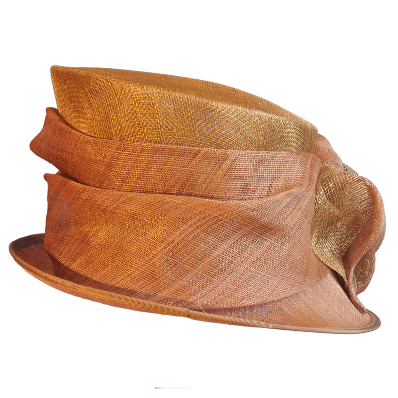 Gold And Soft Copper Sinamay Hat Featuring A Self Ruched Trim