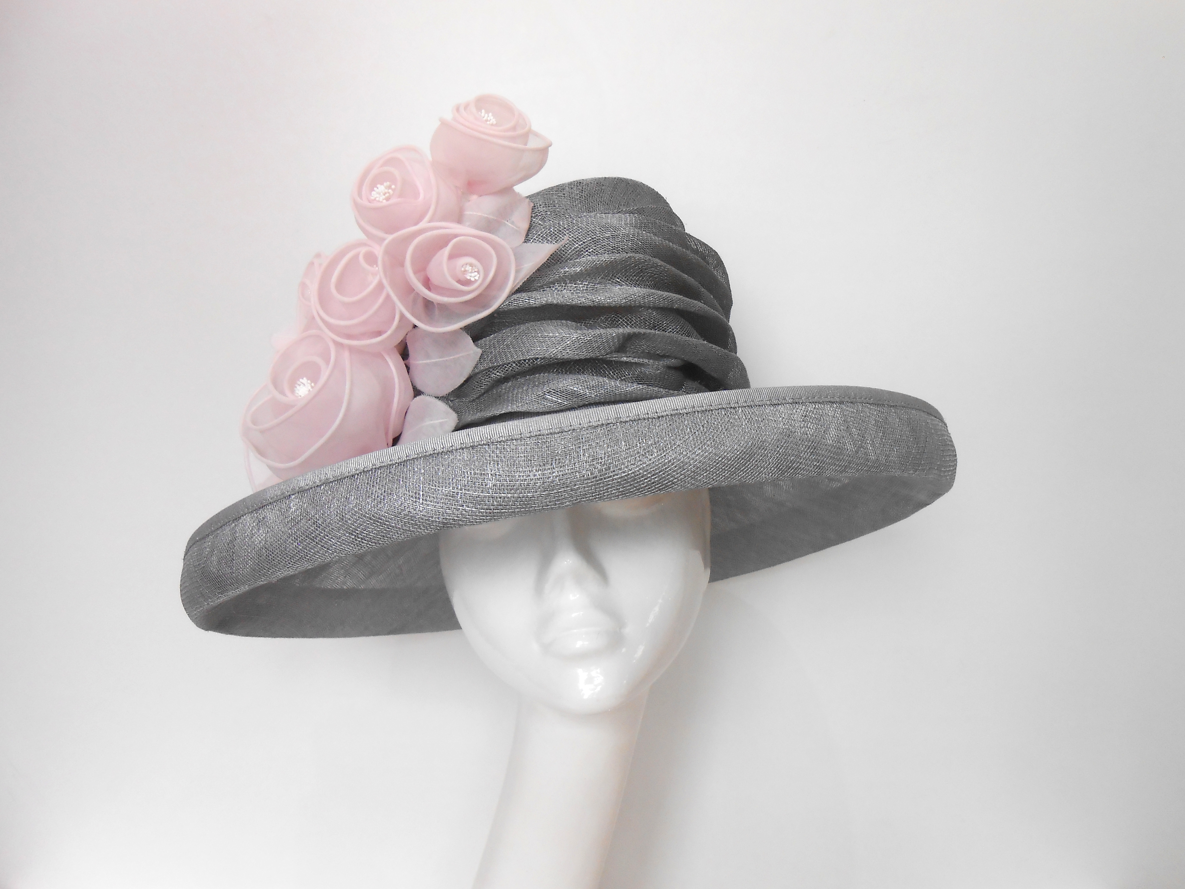 Silver Sinamay Hat With Silk Flower Trim Races Hats Wedding Hat