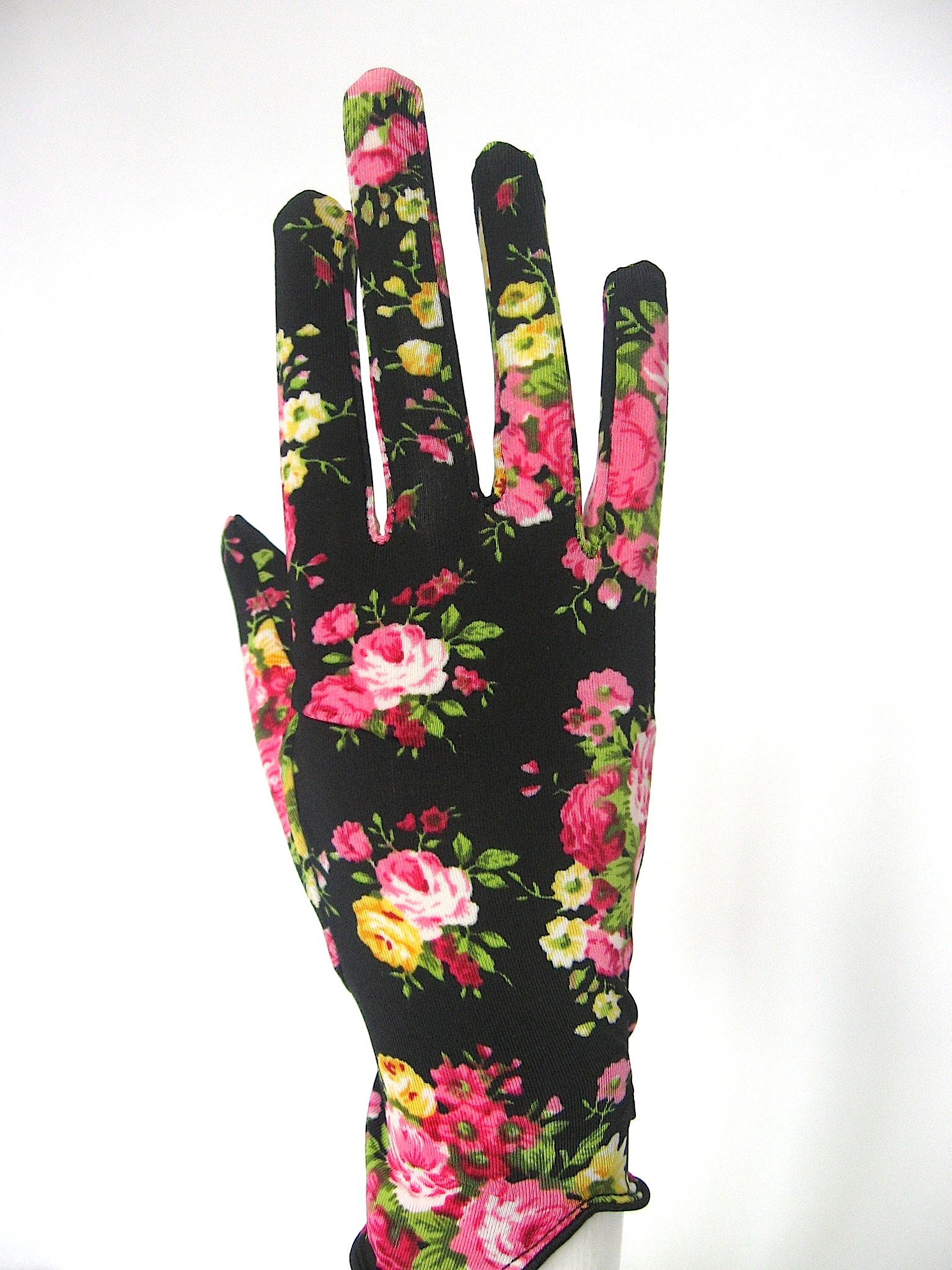 Floral Stretch Gloves In Black Hot Pink Races Hats