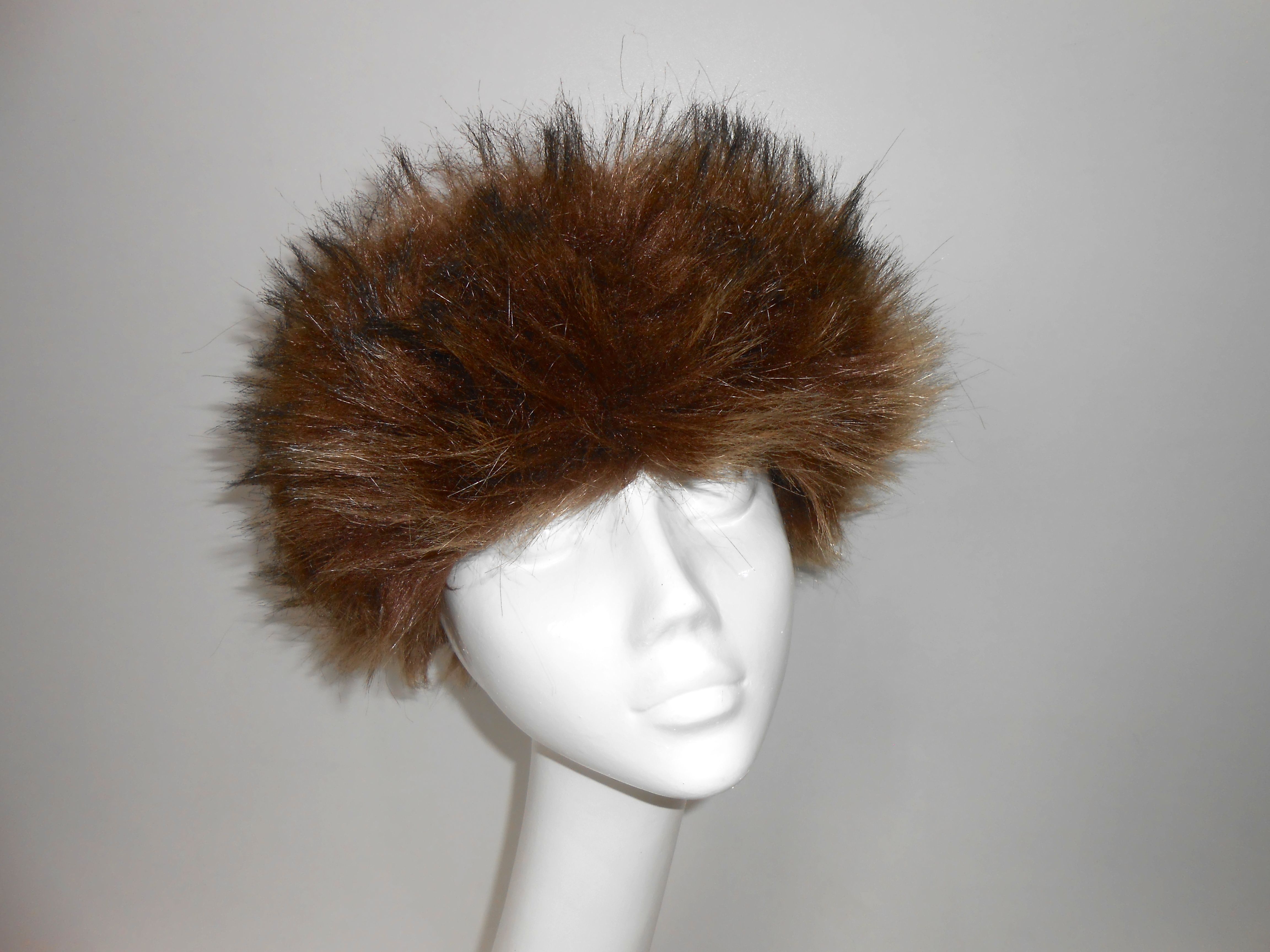253025bf765 Mongolian style faux fur cossack hat in Lynx Sable with suede leather  upper. Fully lined. Made from 60% Acrylic 25% Leather 15% Polyester.