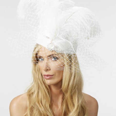 White ostrich feathered headband with diamante and pearl dressing and white  veiling. 957ff7cfc2a