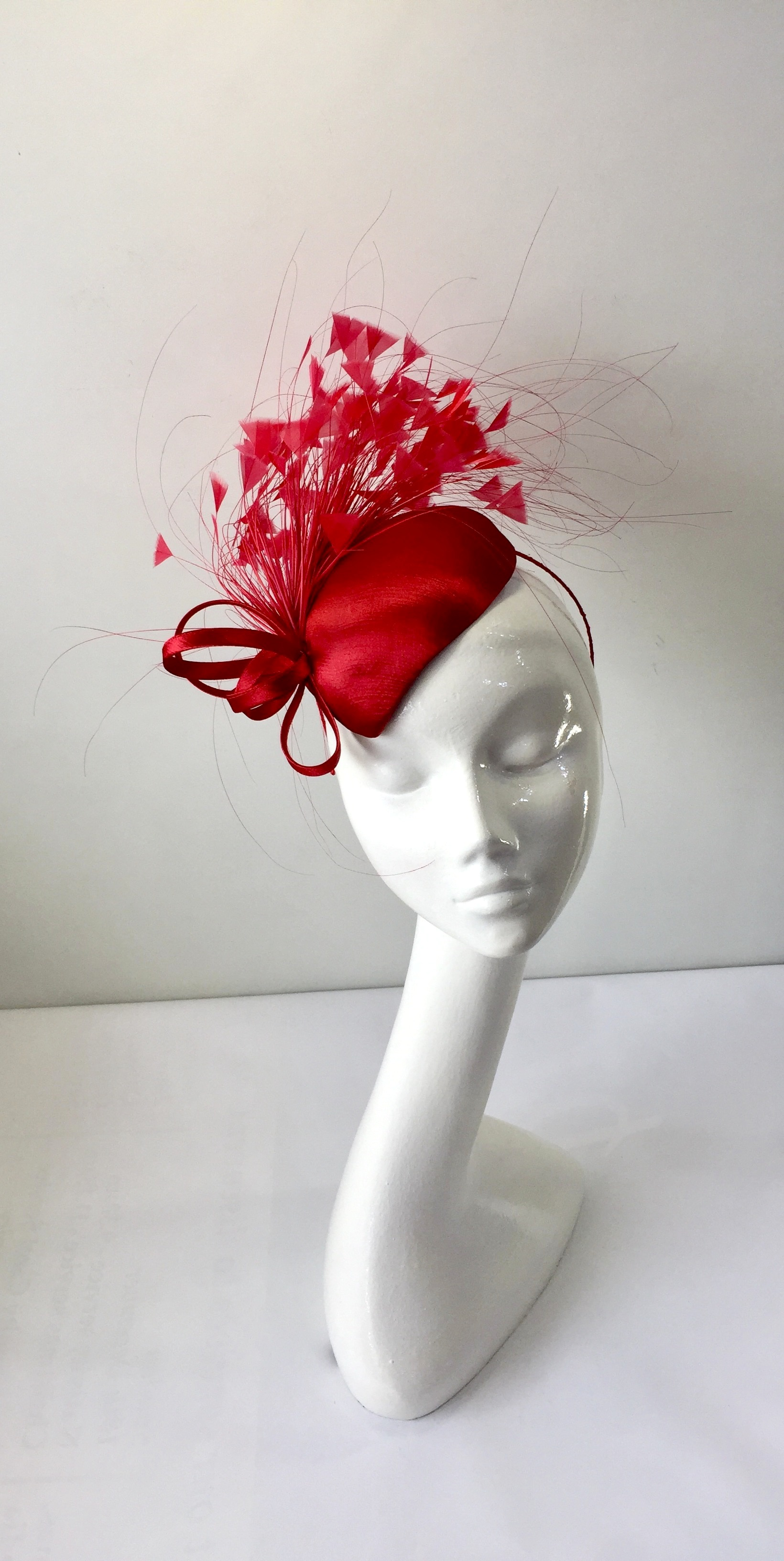 Morello Red Satin Teardrop Fascinator. EF216 front aeb5267ad56